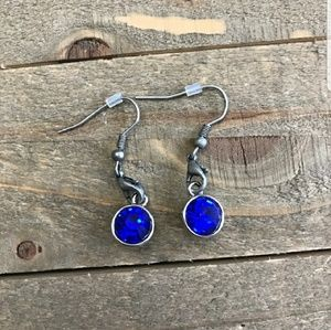 Jewelry - NEW Homemade Dark Blue Dangle Earrings